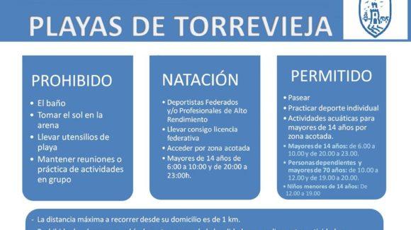 TORREVIEJA ABRE MAÑANA SUS PLAYAS PARA PASEAR, PRACTICAR DEPORTE INDIVIDUAL Y DESARROLLAR ACTIVIDADES ACUÁTICAS
