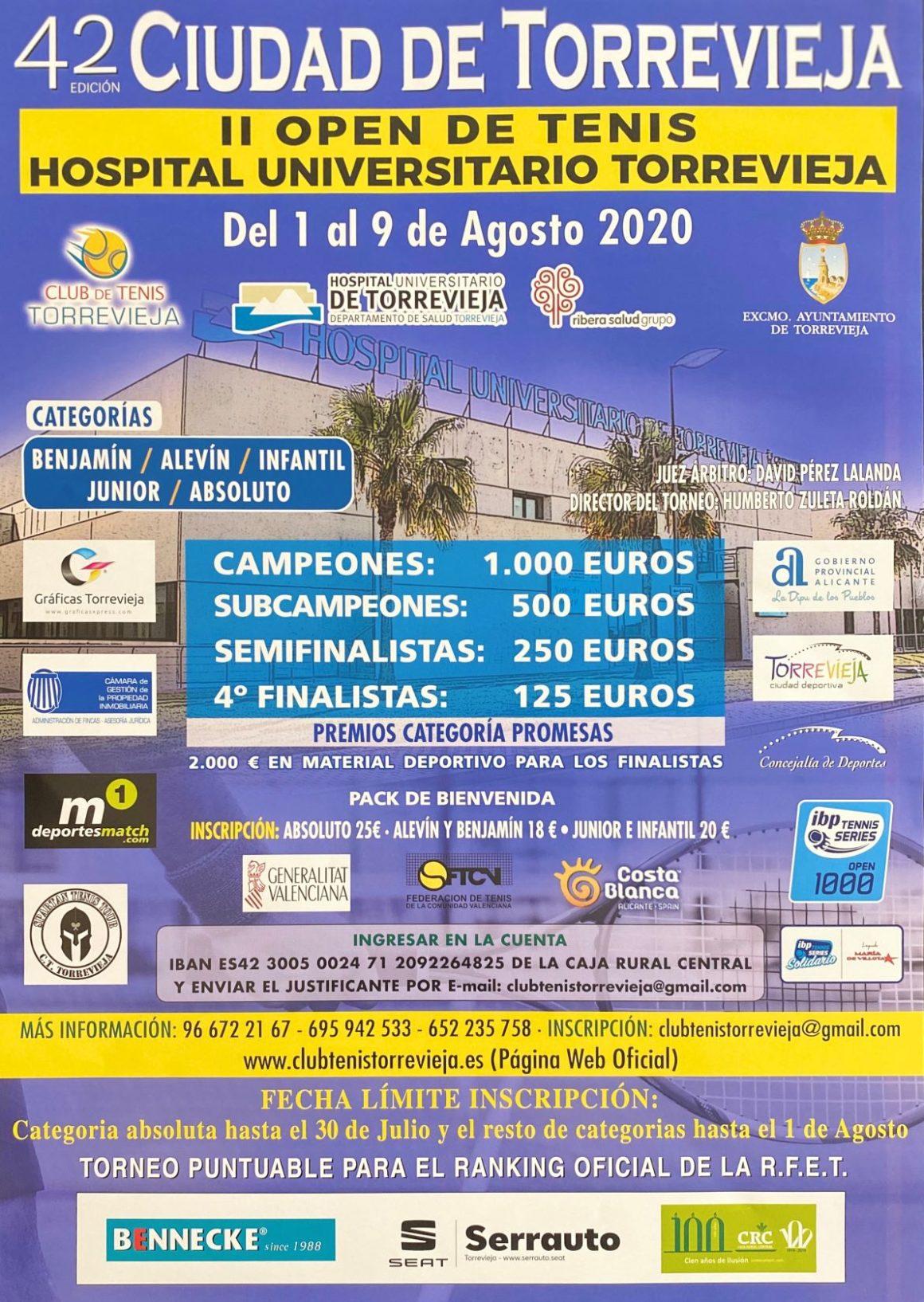 """(Español) Del 1 al 9 de agosto se celebrará el 42º Torneo de Tenis """"Ciudad de Torrevieja"""", con la participación de más de 300 tenistas."""