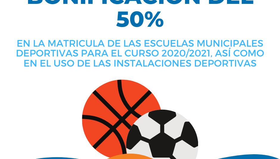 Para la temporada 2020/21 la matrícula de las Escuelas Deportivas Municipales se reduce en un 50% su precio público.