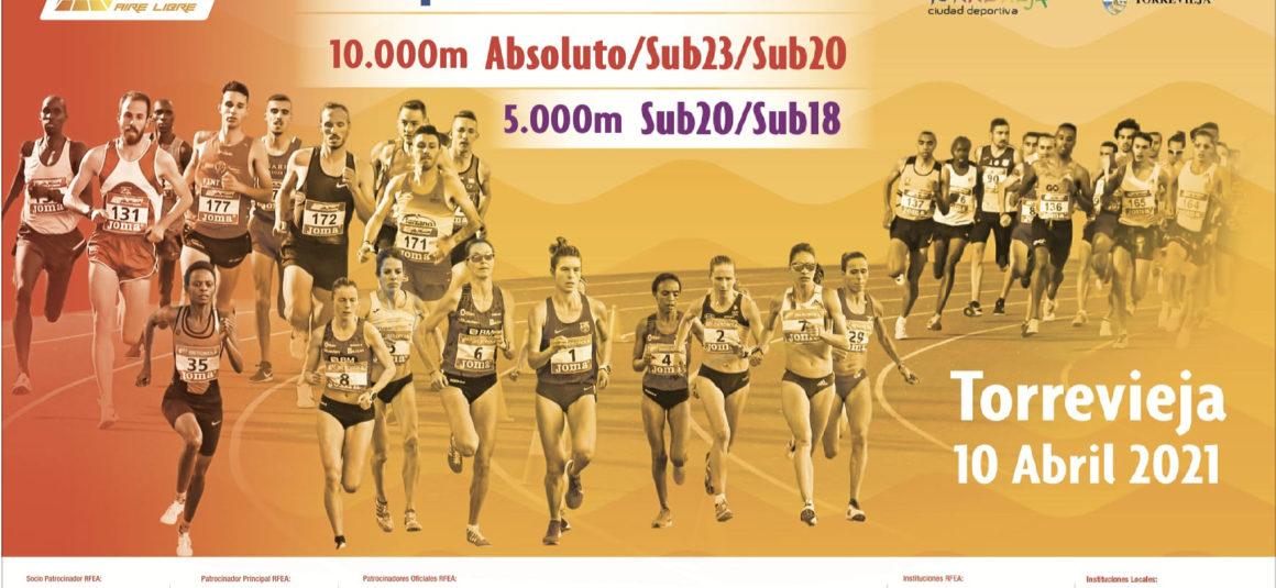 (Español) 📣Este próximo sábado 10 de abril, Torrevieja será sede de los Campeonatos de España de 10.000m Absoluto y Sub 23, 5.000m sub20 y sub18, así como el Trofeo Ibérico España-Portugal.