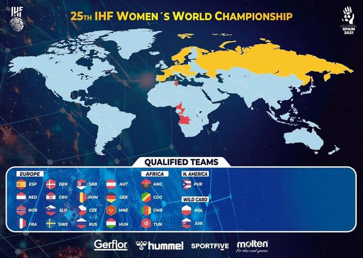 (Español) Se actualiza el mapa de las selecciones clasificadas para el Campeonato del Mundo de Balonmano Femenino España 2021